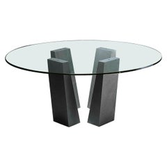 21st Century by Andrea Branzi Quadrio Marble Table Black Marquina & Crystal Top