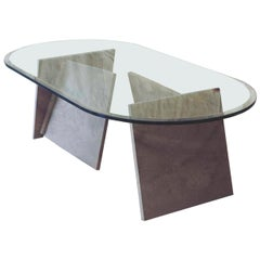 "21st Century by Arch. E. Mari ""DUE CARTE"" Marble Coffee Table with Crystal Top"