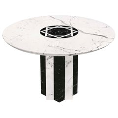21st Century by Arch.A.Natalini Marble Table with Central Polichrome Inlaid