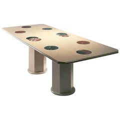 21st Century by Arch.A.Natalini Polichrome Marble Table with Inlaid Moon Phases