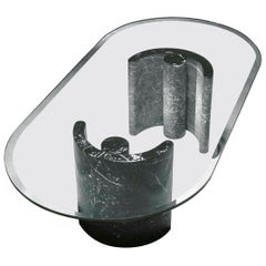 21st Century by Arch. K. Hacke Low Table with Marble Bases and Crystal Top