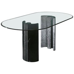 21st Century by Arch.K.Hacke Table with Marble Bases and Crystal Top
