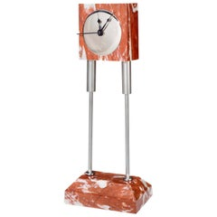 21st Century by D. Palterer Marble and Metal Clock in Rosso Framcia e Verde Alpi