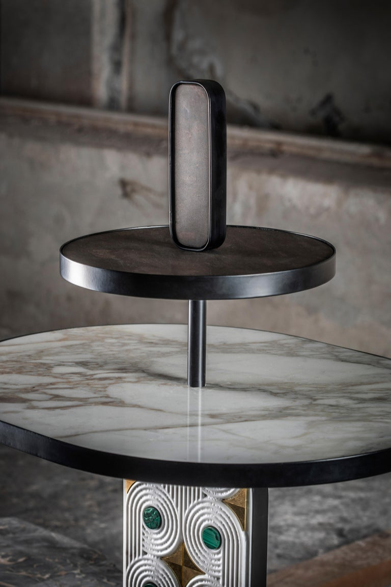 Modern 21st Century by Elena Salmistraro Coffee Table Marble White For Sale