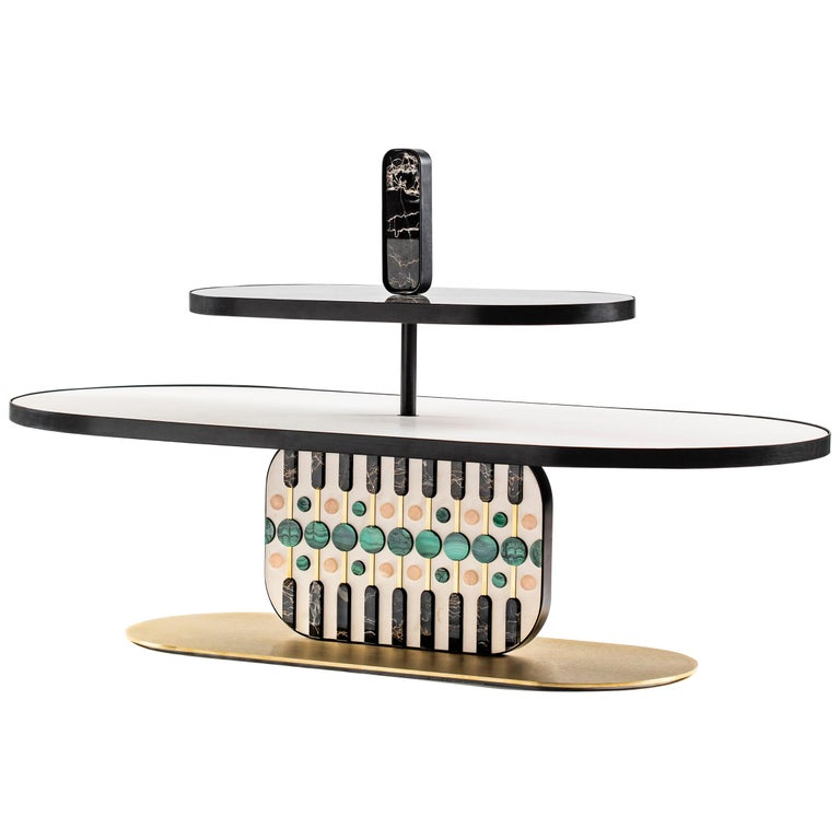 21st Century by Elena Salmistraro Coffee Table Natural Stone White For Sale