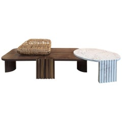21st Century by Federico Peri Caravel Low Coffee Table Rattan Walnut and Marble