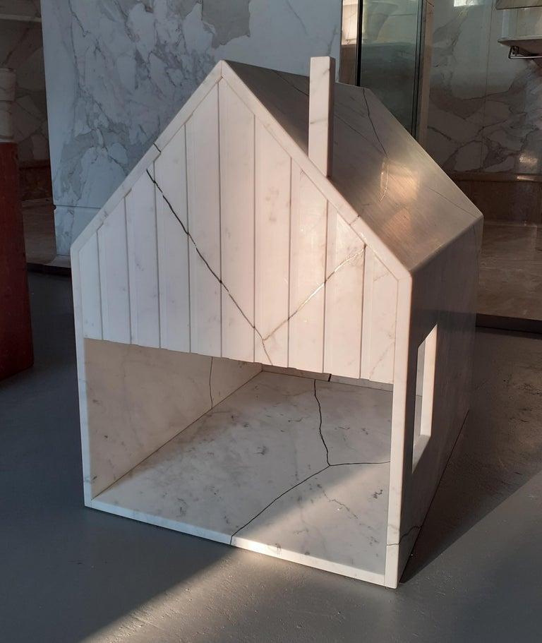 Modern 21st Century by Feix & Merlin Reclaimed White Marble Dog House Kintsugi Brass For Sale