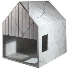 21st Century by Feix & Merlin Reclaimed White Marble Dog House Kintsugi Brass