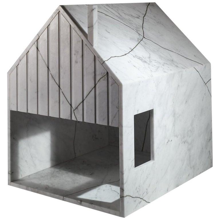 21st Century by Feix & Merlin Reclaimed White Marble Dog House Kintsugi Brass For Sale