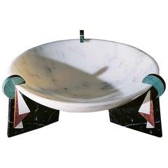 """21st Century by G.Galli """"TRISIO"""" Polichrome Marble Round Centerpiece"""