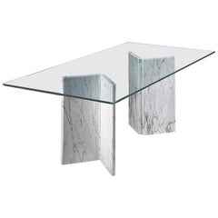 By Giusti/Di Rosa Living Room Table White Marble Legs and Crystal Plane