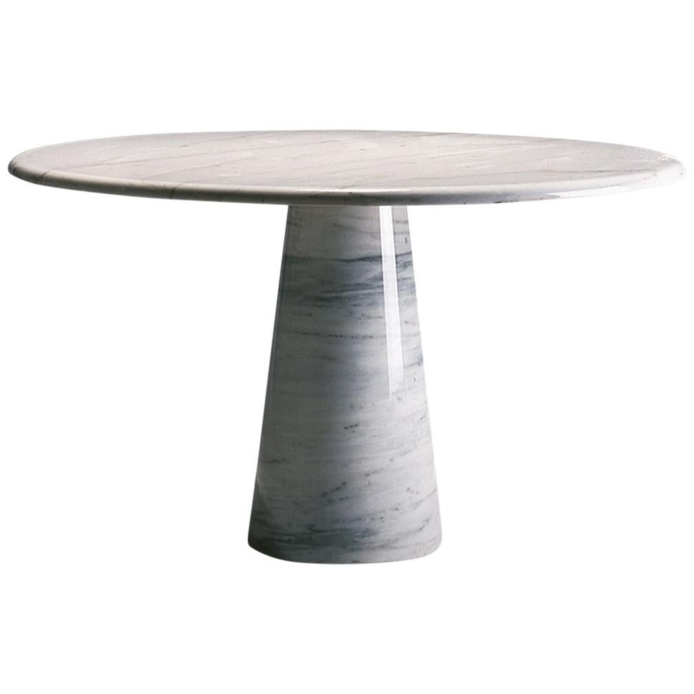 21st Century by Giusti/Di Rosa White Round Marble Table with Conical Base