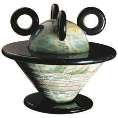 21st Century by Michele De Lucchi Black Marble and Green Onix Kandla Centerpiece