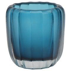 21st Century by Micheluzzi Glass Aquamarine Rullo Handmade Murano Glass