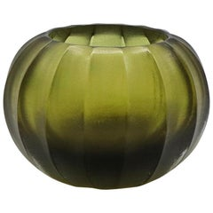 21st Century by Micheluzzi Glass Bocia Olive Green Vase Handmade Murano Glass