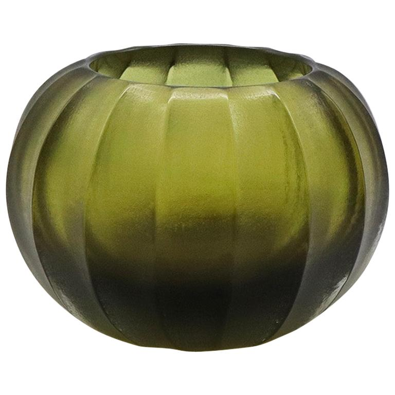 21st Century by Micheluzzi Glass Bocia Olive Green Vase Handmade Murano Glass For Sale