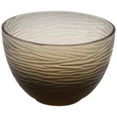21st Century by Micheluzzi Glass Brown Bowl Handmade Murano Glass