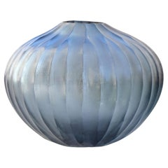 21st Century by Micheluzzi Glass Bulbo Blue Vase Handmade Murano Glass