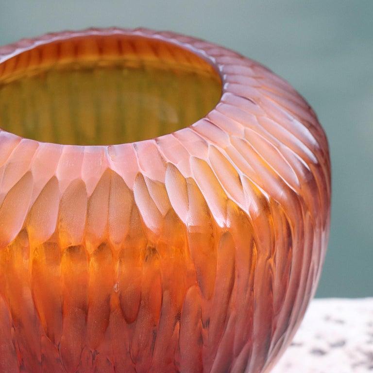 Modern 21st Century by Micheluzzi Glass Goccia Amber Vase Handmade Murano Glass For Sale