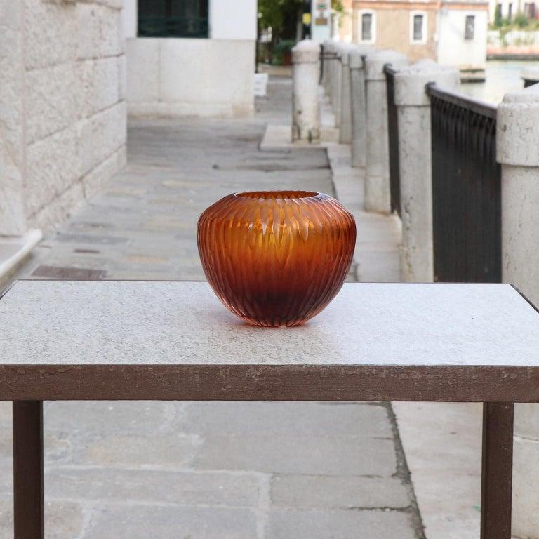 Italian 21st Century by Micheluzzi Glass Goccia Amber Vase Handmade Murano Glass For Sale