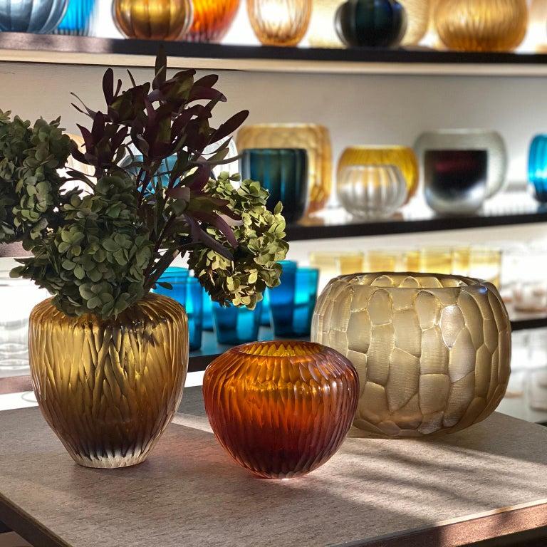 21st Century by Micheluzzi Glass Goccia Amber Vase Handmade Murano Glass In New Condition For Sale In Venice, IT