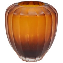 21st Century by Micheluzzi Glass Goccia Amber Vase Handmade Murano Glass