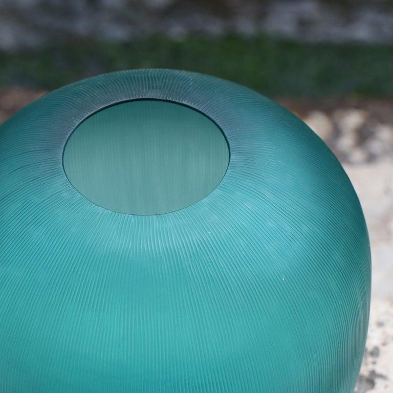 Modern 21st Century by Micheluzzi Glass Goccia Emerald Vase Handmade Murano Glass For Sale