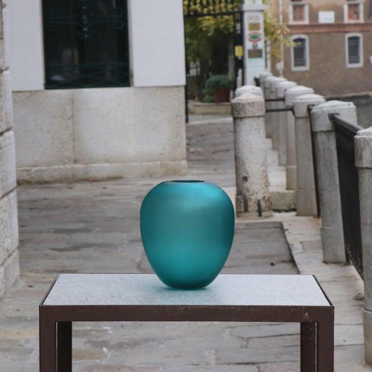 21st Century by Micheluzzi Glass Goccia Emerald Vase Handmade Murano Glass In New Condition For Sale In Venice, IT