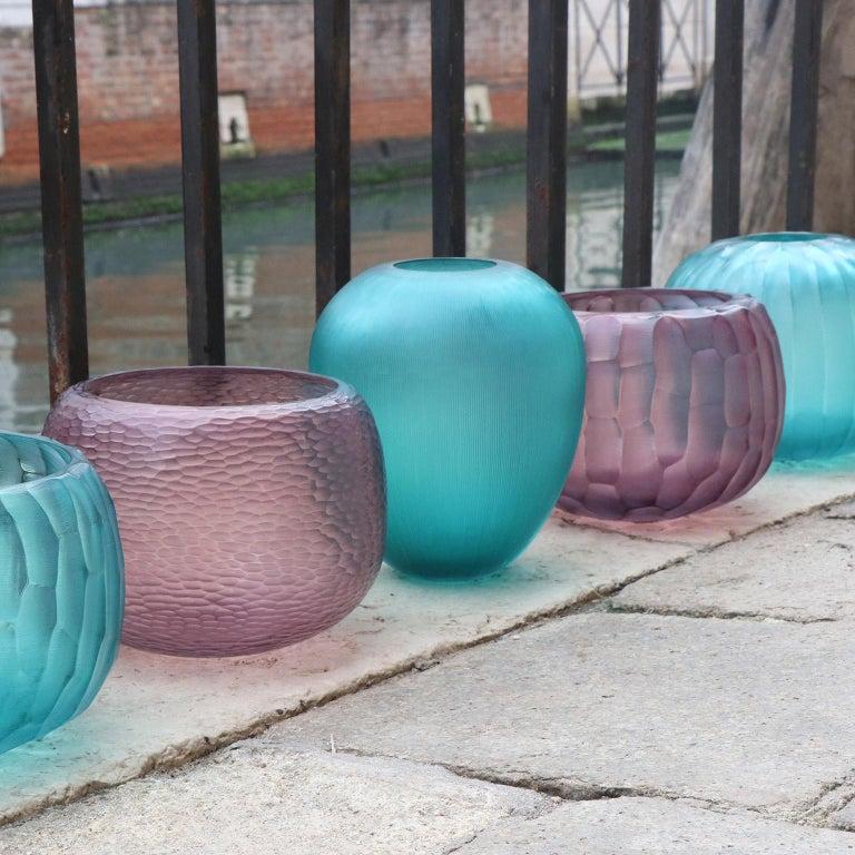 Contemporary 21st Century by Micheluzzi Glass Goccia Emerald Vase Handmade Murano Glass For Sale
