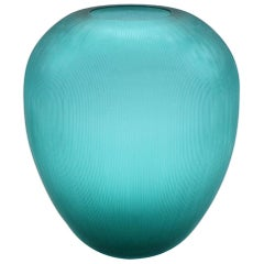 21st Century by Micheluzzi Glass Goccia Emerald Vase Handmade Murano Glass