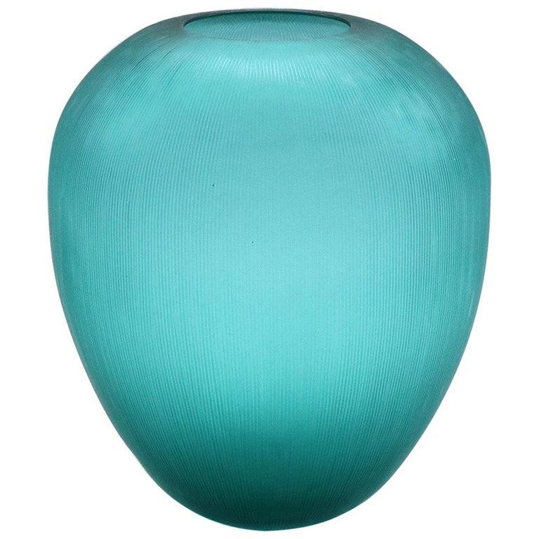 21st Century by Micheluzzi Glass Goccia Emerald Vase Handmade Murano Glass For Sale