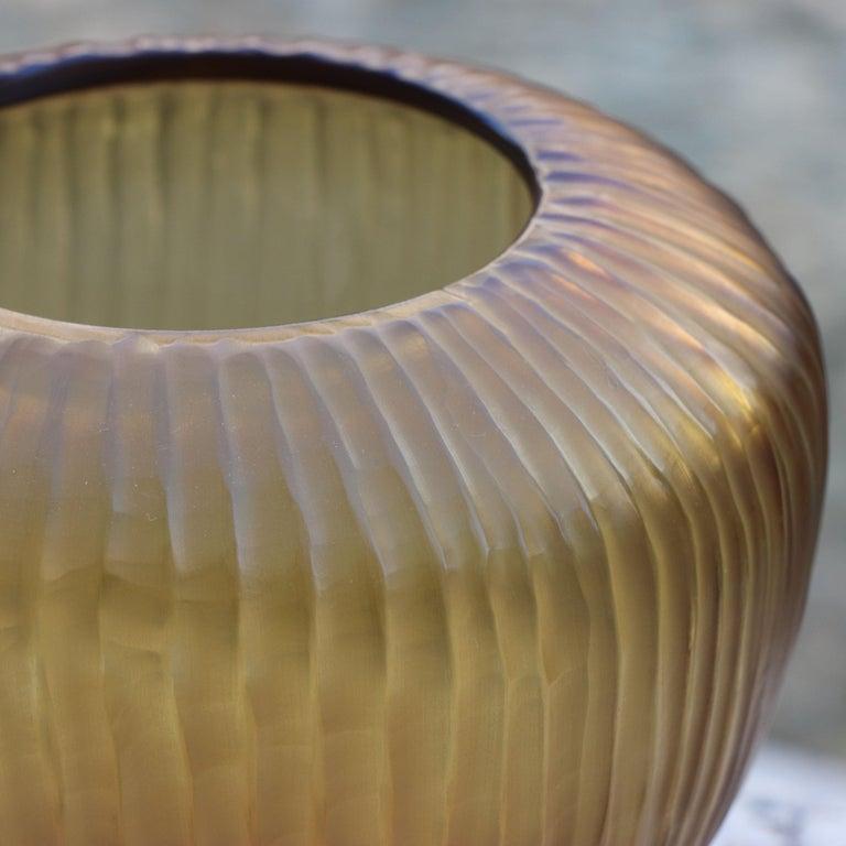 Modern 21st Century by Micheluzzi Glass Goccia Honey Vase Handmade Murano Glass For Sale