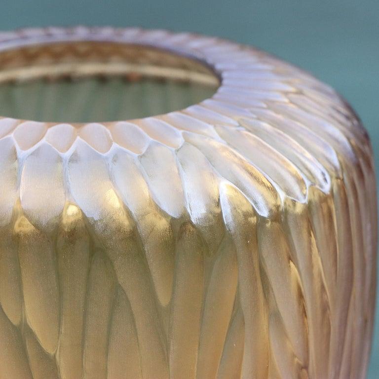 Modern 21st Century by Micheluzzi Glass Goccia Honey Vase Handmade Murano Glass