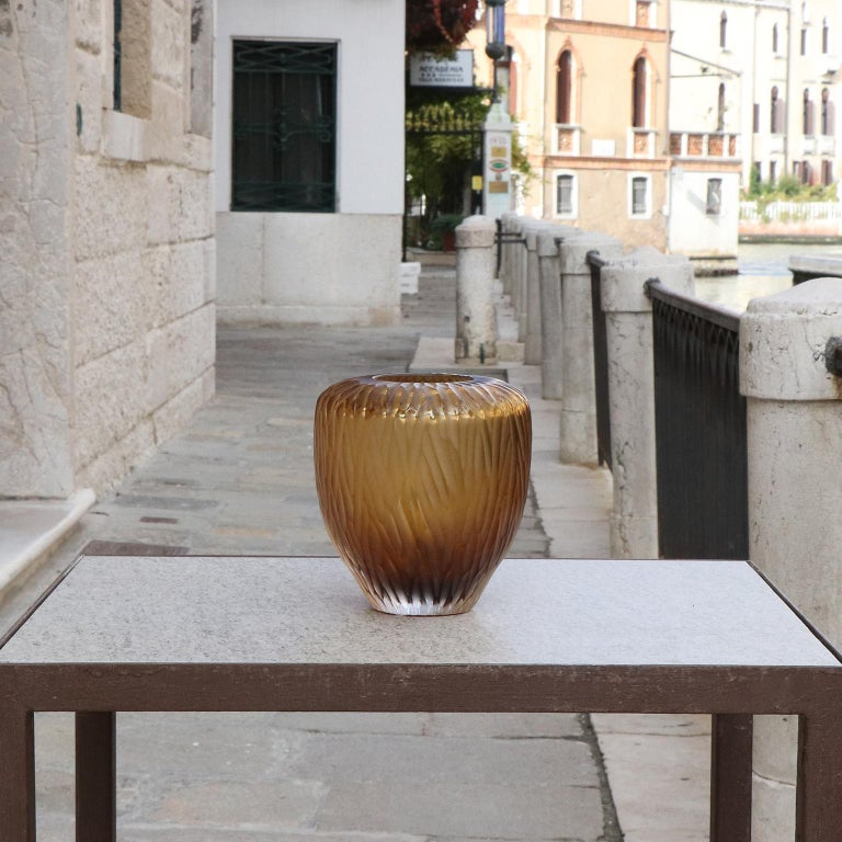 Hand-Carved 21st Century by Micheluzzi Glass Goccia Honey Vase Handmade Murano Glass