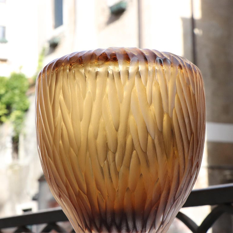 21st Century by Micheluzzi Glass Goccia Honey Vase Handmade Murano Glass In New Condition In Venice, IT
