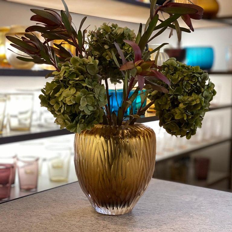 Contemporary 21st Century by Micheluzzi Glass Goccia Honey Vase Handmade Murano Glass