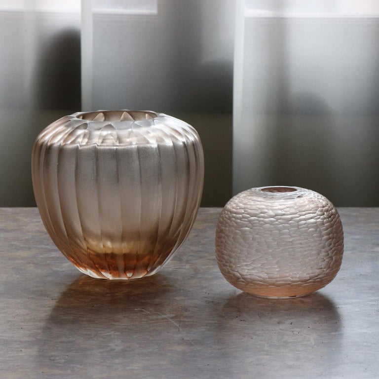 Contemporary 21st Century by Micheluzzi Glass Goccia Light Pink Vase Handmade Murano Glass For Sale