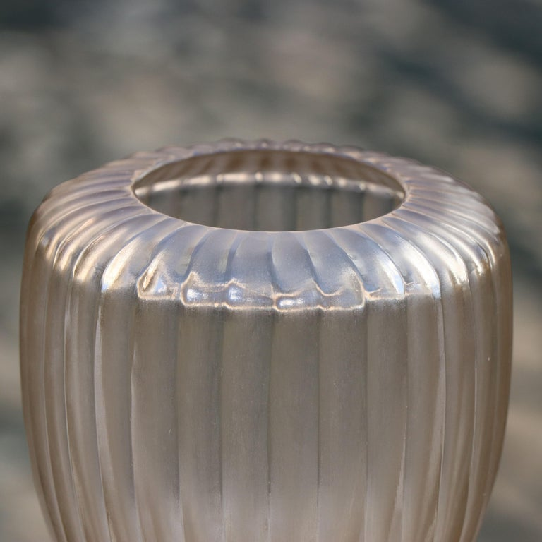 Italian 21st Century by Micheluzzi Glass Goccia Pale Gold Vase Handmade Murano Glass For Sale