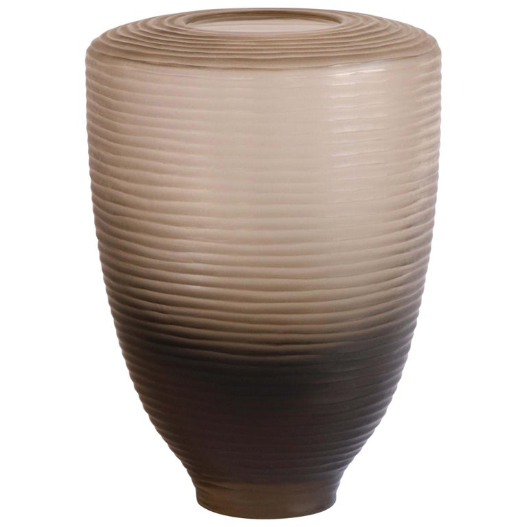 21st Century by Micheluzzi Glass Goccia Pale Gold Vase Handmade Murano Glass For Sale