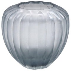 21st Century by Micheluzzi Glass Goccia Silver Grey Vase Handmade Murano Glass