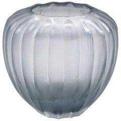 21st Century by Micheluzzi Glass Goccia Silver Grey Vase Handmade Murano Glass