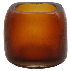 21st Century by Micheluzzi Glass Pozzo Amber Vase Handmade Murano Glass