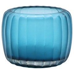 21st Century by Micheluzzi Glass Pozzo Aquamarine Vase Handmade Murano Glass
