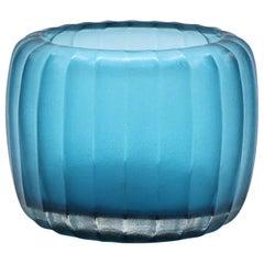 21st Century by Micheluzzi Glass Pozzo Aquamarine Vase Handmade Murano Glass