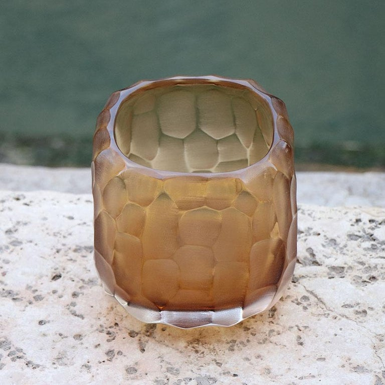 Hand-Carved 21st Century by Micheluzzi Glass Pozzo Honey Vase Handmade Murano Glass For Sale