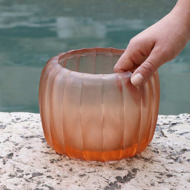 Hand-Carved 21st Century by Micheluzzi Glass Pozzo Light Pink Vase Handmade Murano Glass For Sale