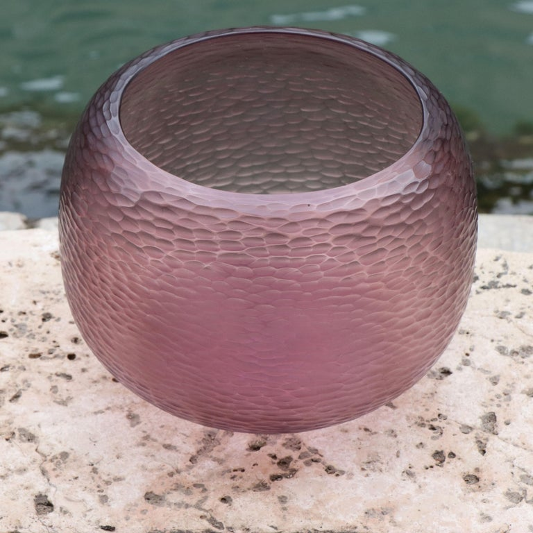 Modern 21st Century by Micheluzzi Glass Puffo Amethyst Vase Handmade Murano Glass For Sale
