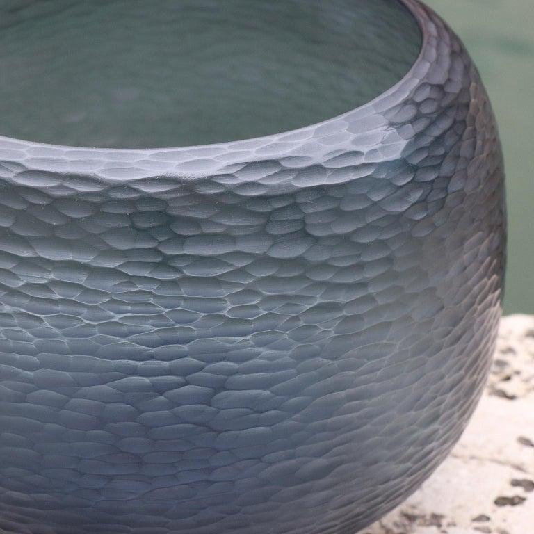 Italian 21st Century by Micheluzzi Glass Puffo Dark Blue Vase Handmade Murano Glass For Sale