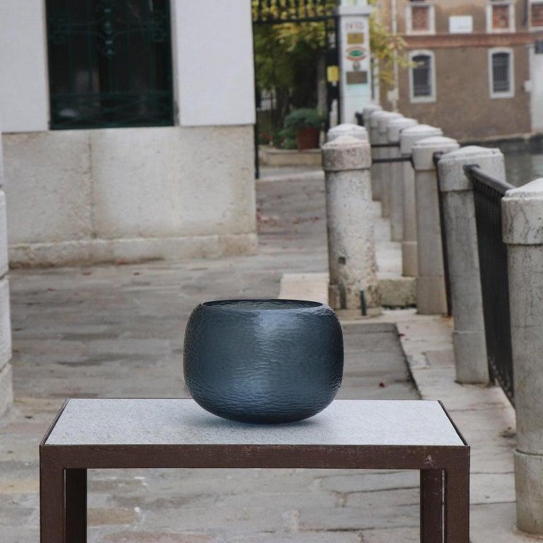Hand-Carved 21st Century by Micheluzzi Glass Puffo Dark Blue Vase Handmade Murano Glass For Sale