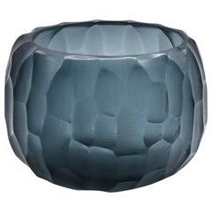21st Century by Micheluzzi Glass Puffo Dark Blue Vase Handmade Murano Glass
